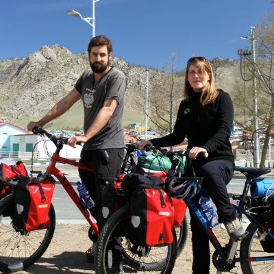 Cycle Touring - Couple with bikes and panniers